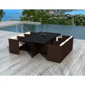 Delorm Design Table 6 fauteuils encastrables en résine chocolat - Argeles