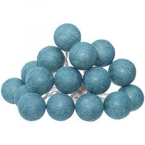 Atmosphera Guirlande décorative lumineuse Bleu Canard 16 boules LED D 3.5 cm et L 261 cm