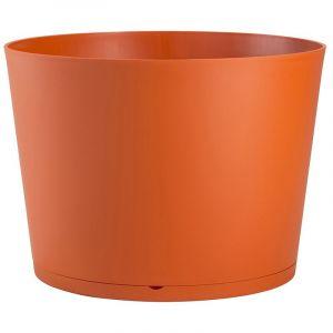 Grosfillex Pot de fleur design Tokyo 36 Diam.36 H.26 - Orange - Extérieur - Soucoupe amovible intégrée