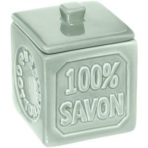 """Pot à Coton Céramique """"100% Savon"""" Vert Prix"""