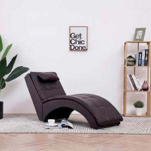 VidaXL Chaise longue avec oreiller Marron Similicuir