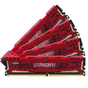 Crucial Sport LT BLS4K8G4D30AESEK 32Go Kit (8Go x4) (DDR4, 3000 MT/s, PC4-24000, CL15, Single Rank x8, DIMM, 288-Pin) Mémoire - Rouge