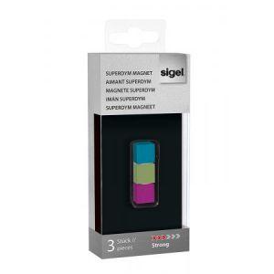 Sigel GL727 - Lot de 3 plots magnétiques Superdym C5 Strong, 1x1x1 cm, turquoise/fuchsia/vert