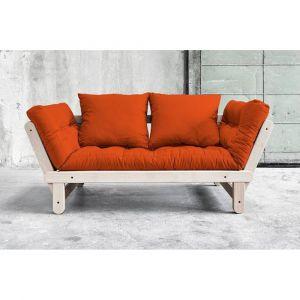 Inside75 Banquette méridienne convertible futon orange BEAT BEECH couchage 75*200cm