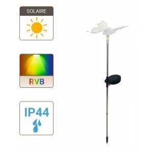 Xanlite Piquet « Papillon » LED solaire, Multicolore, IP44 - Spécial extérieur - SOPAPILLONRVB -