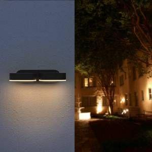 Silamp Applique Murale Double Noire LED 12W IP54 Orientable Ovale - Blanc Chaud 2300K - 3500K