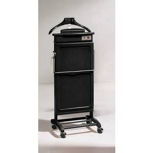 Pegane Valet de Nuit électrique Noir en hêtre massif avec accessoires pour chaussures sur socle a roulettes, 42 x 45 x 113 cm -