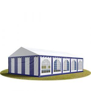 Intent24 TOOLPORT Tente Barnum de Réception 6x10 m PREMIUM Bâches Amovibles PVC 500 g/m² bleu-blanc + Cadre de Sol Jardin.FR