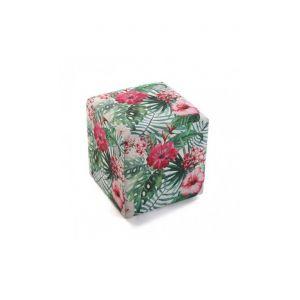 Wellindal Pouf tabouret motifs floraux vert rose FLORES
