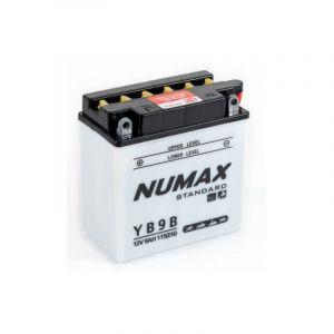 Numax Batterie moto Standard avec pack acide YB9-B 12V 9Ah 115A