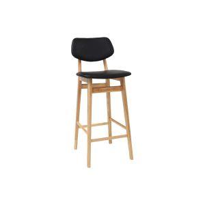 Miliboo Tabouret / chaise de bar design noire et bois naturel 65 cm NORDECO