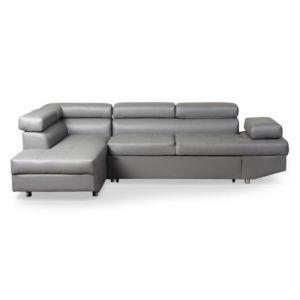 LesTendances Canapé d'angle gauche convertible avec têtières relevables simili cuir gris Lanzo