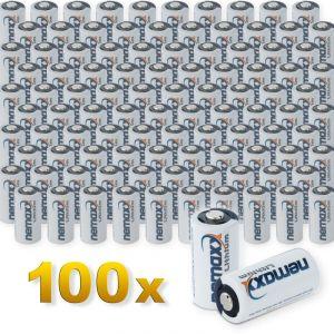 Nemaxx 100x 3V Photo Lithium Batterie im Blister CR123A Photobatterie 1700 mAh