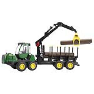Bruder Toys 2133 - Porteur forestier John Deere 1210E avec chargeur, remorque et rondins de bois
