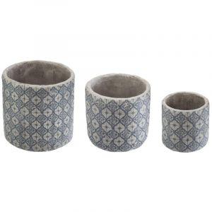 """Lot de 3 Cac Pots """"Nuptia"""" 14cm Bleu Prix"""