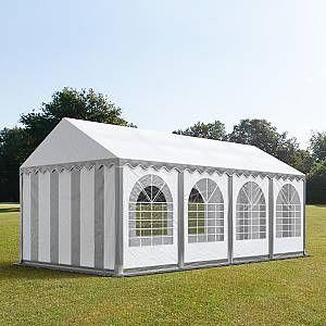 Intent24 Tente de réception 4x8 m - anti-feu H. 2,6m gris-blanc PVC 550g/m² pavillon 100% imperméable.FR