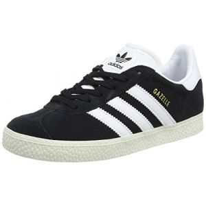 Adidas Gazelle, Baskets Basses Mixte Enfant, Noir (Core Black/FTWR White/Gold Metallic), 32 EU
