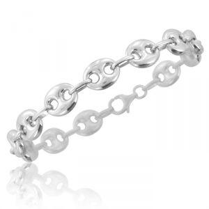 Rêve de diamants CDMCAG10 - Bracelet grain de café de 20 cm en argent rhodié 925/1000 pour homme