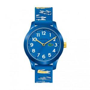 Lacoste Montre 2030019 - Junior boitier tr90 (résine infusée de nylon) bleu marine rond cadran bleu bracelet silicone bleu avec imprimés