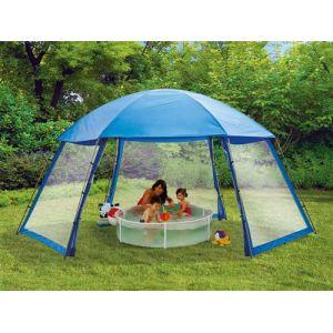 Habitat et Jardin Abri de piscine en polyester 3 portes 5 x 3.9 x 2.5 m