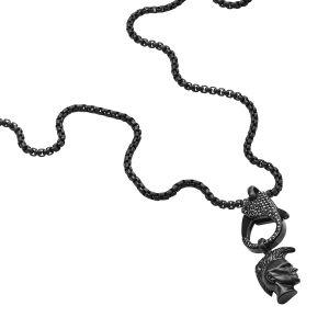 Diesel Collier et Pendentif Bijoux PILLAR DX1160001 - Collier et Pendentif Acier Noir Strass HOMME
