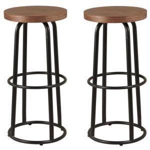 METALO Lot de 2 tabourets de bar - MDF décor bois + pieds en métal noir - Style industriel - L 36 x P 36 cm - MDF décor bois, pieds en métal noir - Assise L 36 x P 36 cm - Lot de 2