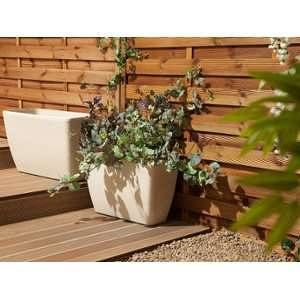 Beliani Long cache pot rectangulaire en pierre blanche Baris
