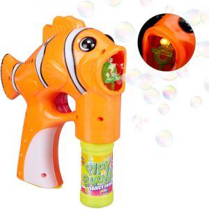 Relaxdays Pistolet à bulles de savon Poisson Clown LED machine à bulles enfant adulte à piles, orange
