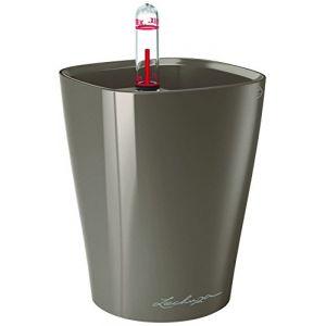 Lechuza Pot de table Mini-Deltini - kit complet, taupe brillant Ø 10 x 13 cm