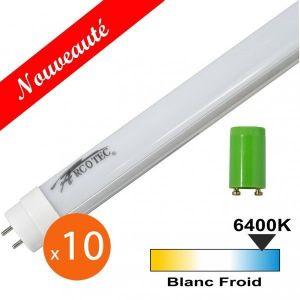 Arcotec Lot de 10 tubes LED T8 20W 1200mm - Couleur eclairage - Blanc froid