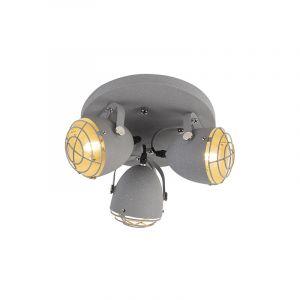 Qazqa Industriel Plafonnier spot industriel réglable aspect béton gris 3-lumières- Rebus Acier Gris Cylindre/Rond/Luminaire/Lumiere/Éclairage/intérieur/Salon/Cuisine
