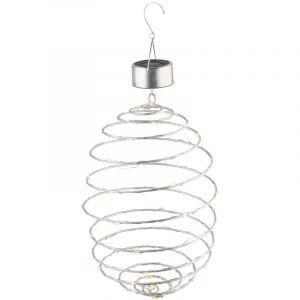 Globo Lampe solaire à LED, à spirale, à suspendre, argent
