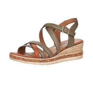 Remonte Femme Sandales, Dame Sandale à lanières,Spartiates,Sandales Gladiator,Chaussures d'été,Confortables,Forest/Cayenne / 54,38 EU / 5 UK