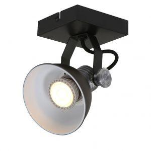Steinhauer Applique et plafonnier LED, métal, noir, BROOKLYN