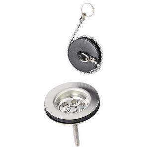 Wirquin Bonde de lavabo à bouchon - Laiton - Chainette avec anneau : 250 mm
