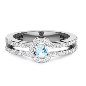 CaraShop 3663644083296 - Solitaire topaze bleue et diamants en or blanc