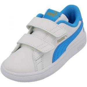 Puma Smash v Om WHT/TRQ BB - Chaussures Scratch - Blanc - Taille 25