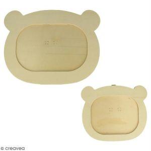 Artémio Cadres plats en bois Adorable Tête d'ours x 2 pcs