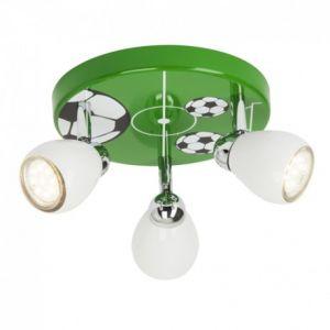 Brilliant AG Plafonnier à 3 lumières chambre enfant LED Soccer motif football hauteur 11 cm GU10 3 W vert, noir et blanc