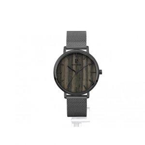Pierre Lannier Montre 241D488 - Boîtier acier gris poli verre sérigraphié gris cadran bois noir index noir Homme