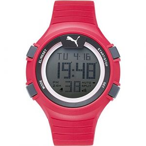 Puma Time Faas PU911281003 - Montre Quartz - Affichage Digital - Bracelet Plastique Rouge et Cadran Gris - Homme