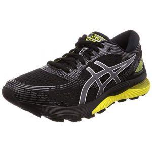 Asics Gel-Nimbus 21, Chaussures de Running Compétition Homme, Multicolore (Black/Lemon Spark 003), 41.5 EU