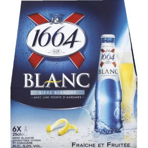 1664 Bière blanche aromatisée citron et coriandre, fraîche et fruitée - Les 6 bouteilles de 25cl