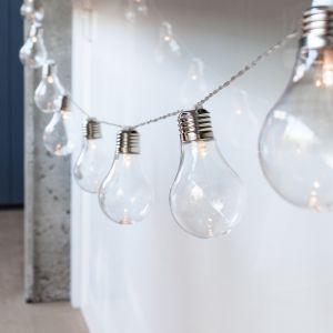 Lights4Fun Guirlande Lumineuse Guinguette avec 10 Boules Rétro LED Blanc Chaud à Piles pour Intérieur/Extérieur