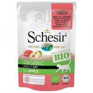 Schesir Bio 6 x 85 g pour chat - bœuf, poulet, pommes