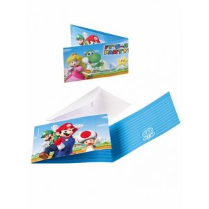 8 invitations & enveloppes Super Mario
