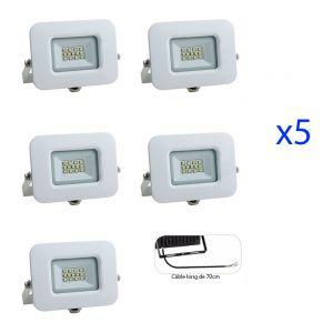 Image de Optonica Lot de 5 Projecteurs LED 10W (60W) Blanc Premium Line IP65 850 lumens