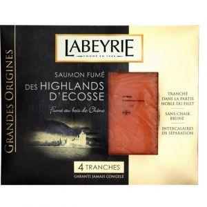 Labeyrie Saumon fumé des Higlands d'Ecosse, fumé au bois de chêne - Les 4 tranches, 130g