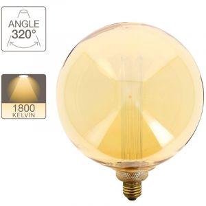 Ampoule LED déco hologramme globe (giant) verre ambré culot E27 blanc chaud