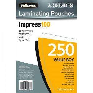 Fellowes 5313904 - Pack de 250 pochettes Impress100, format A4, 2 x 100µ
